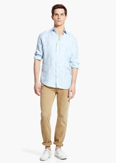 Slim-fit printed linen shirt | MANGO MAN