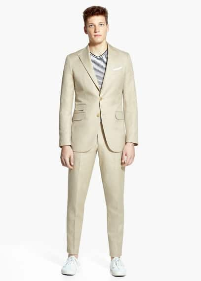 Cotton linen-blend florida suit | MANGO MAN