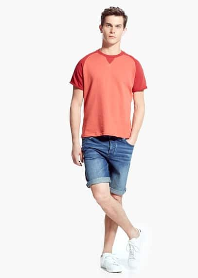 Short-sleeve bicolor sweatshirt | MANGO MAN