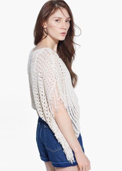 Fringed openwork sweater | MANGO