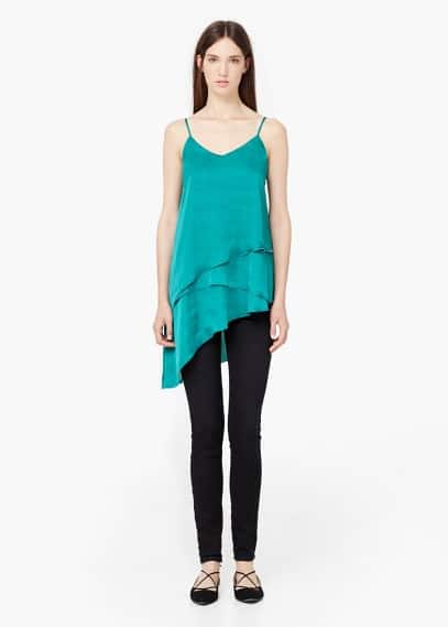 Layered satin top | MANGO