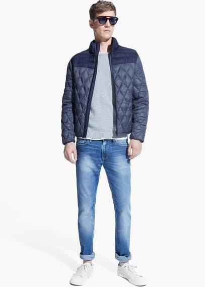 Rhombus water-repellent quilted jacket