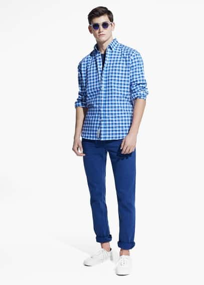 Classic-fit gingham check shirt | MANGO MAN