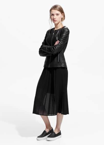 Kožená bunda se zipy | MANGO