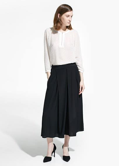 Plumeti silk-blend blouse | MANGO