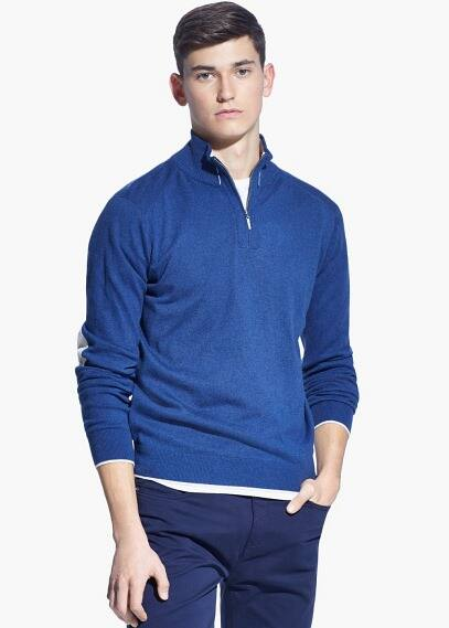 Elbow-patch wool-blend sweater | MANGO MAN