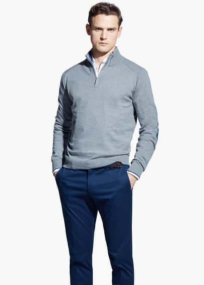 Elbow-patch wool-blend sweater | MANGO MAN