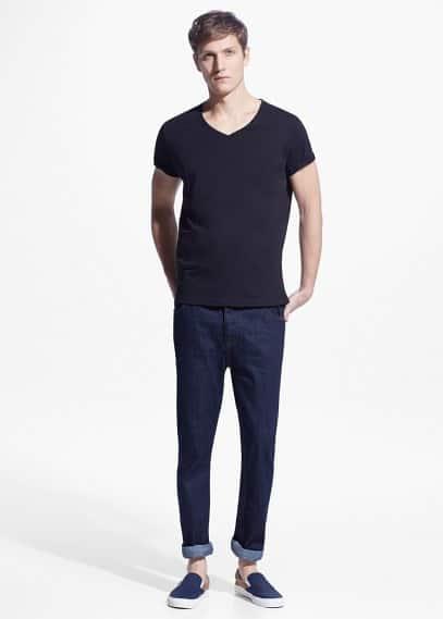Camiseta algodón cuello pico | MANGO MAN