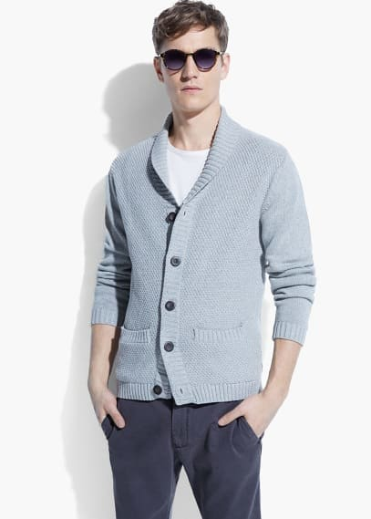 Shawl-collar textured cardigan