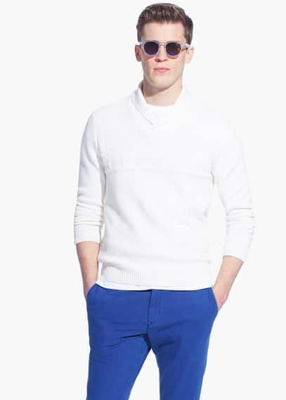 Shawl collar textured sweater | MANGO MAN