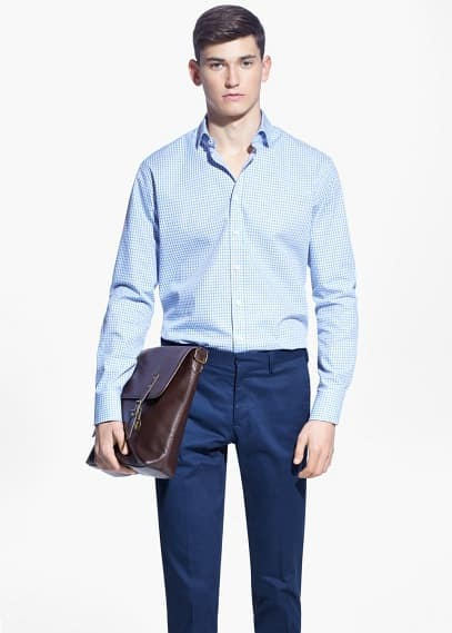 Classic-fit tailored gingham-check shirt | MANGO MAN