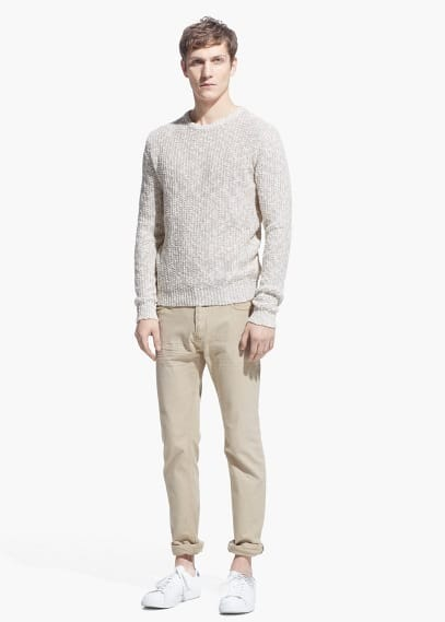 Cotton linen-blend sweater | MANGO MAN