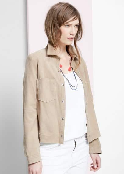 Pocket leather jacket | VIOLETA BY MANGO