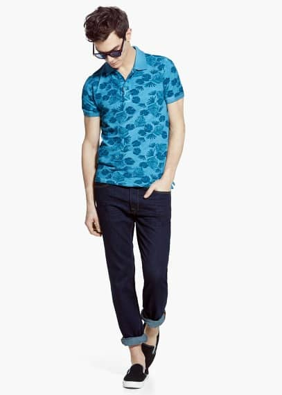 Slim-fit tropical-print piqué polo shirt | MANGO MAN