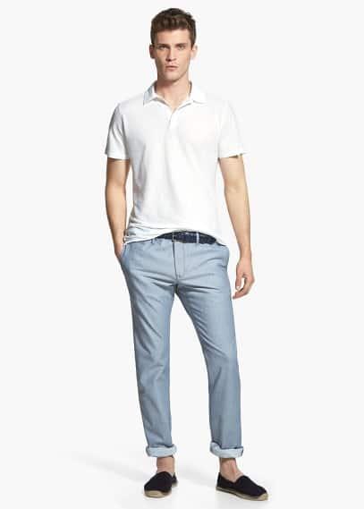 Calças chino algodão linho | MANGO MAN