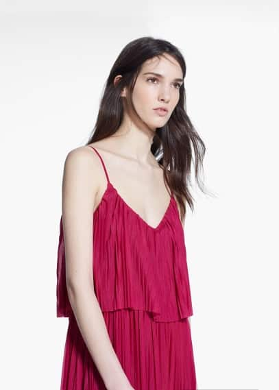 Long pleated dress | MANGO
