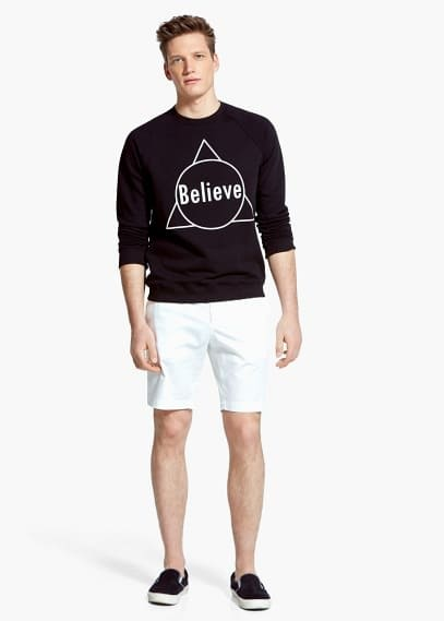 Text-print cotton sweatshirt | MANGO MAN