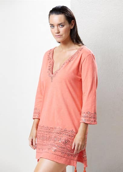 Sequined embroidery caftan | VIOLETA BY MANGO