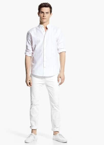 Slim-fit mao collar striped shirt | MANGO MAN