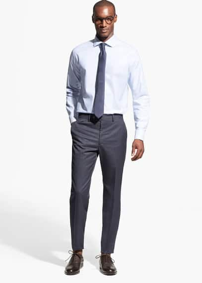 Micro-houndstooth suit trousers | MANGO MAN