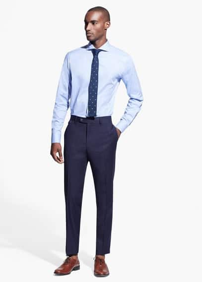 Tailored-fit textured suit trousers