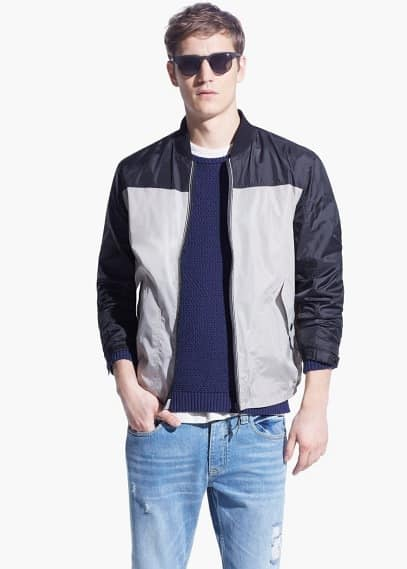Tricolor nylon bomber jacket | MANGO MAN