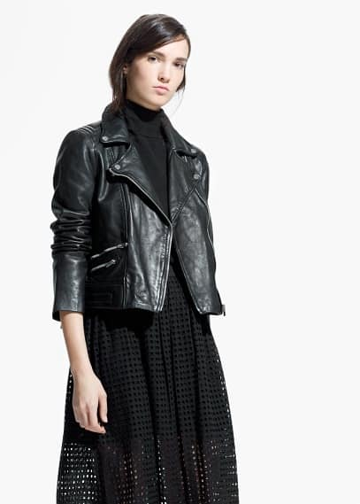 Leather biker jacket | MANGO