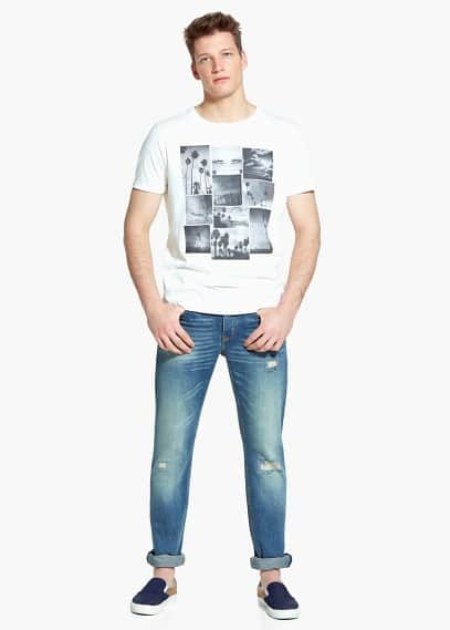 Slim-fit light vintage steve jeans | MANGO MAN