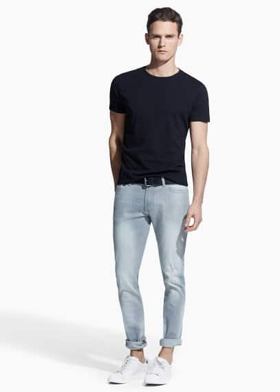Slim-fit light grey tim jeans | MANGO MAN