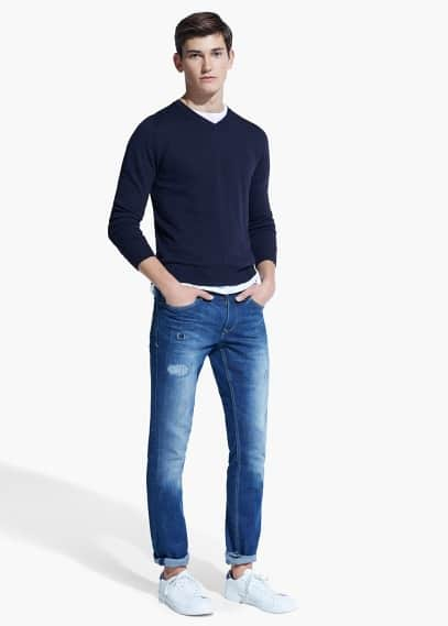 Slim-fit medium wash tim jeans | MANGO MAN