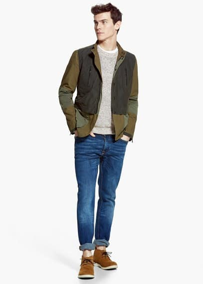Nylon panel tricolor jacket
