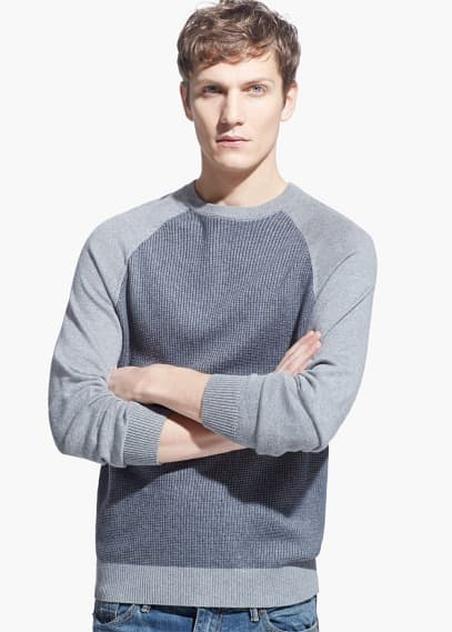 Textured cotton cashmere-blend sweater | MANGO MAN