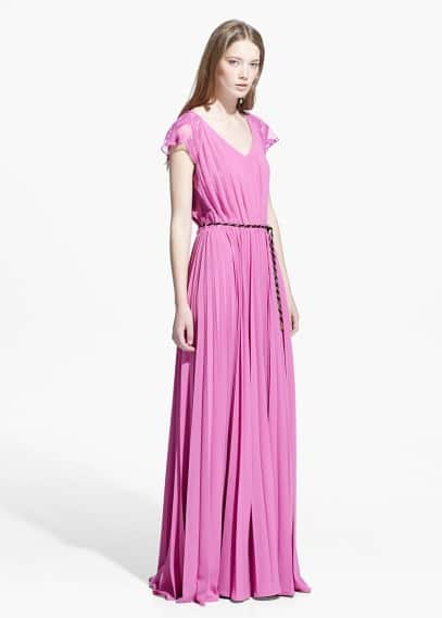 Pleated lace gown | MANGO