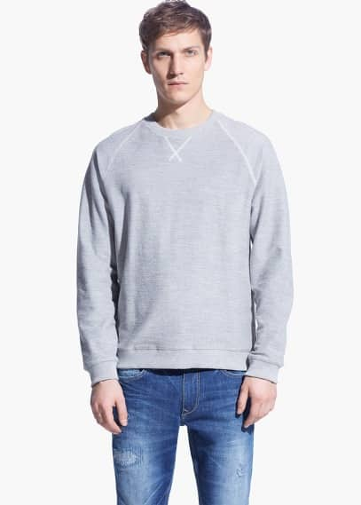 Raglan-sleeve plush cotton sweatshirt | MANGO MAN