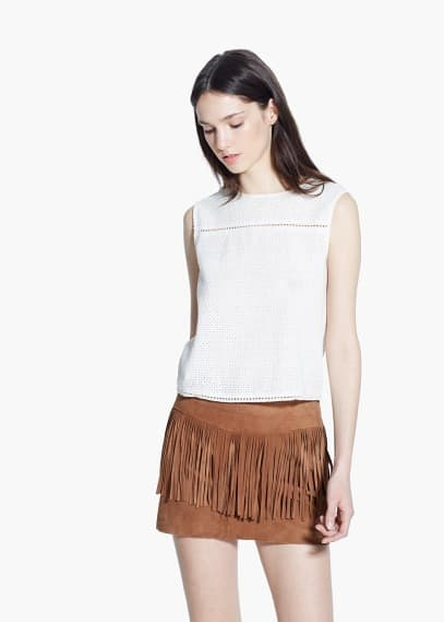 Fringed suede skirt | MANGO