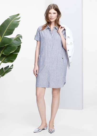 Striped linen-blend dress | VIOLETA BY MANGO