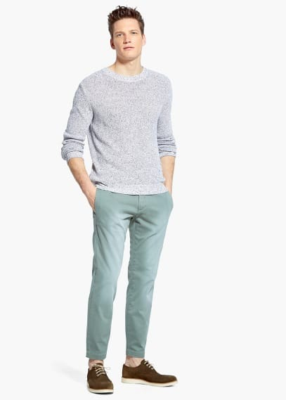 Garment-dyed chino met versleten look | MANGO MAN