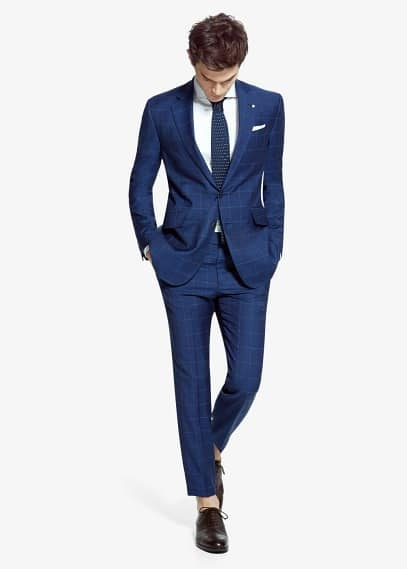 Costume triana tailored-fit laine carreaux | MANGO MAN