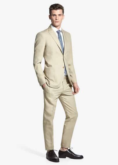 Костюмный пиджак, хлопок и лен | MANGO MAN