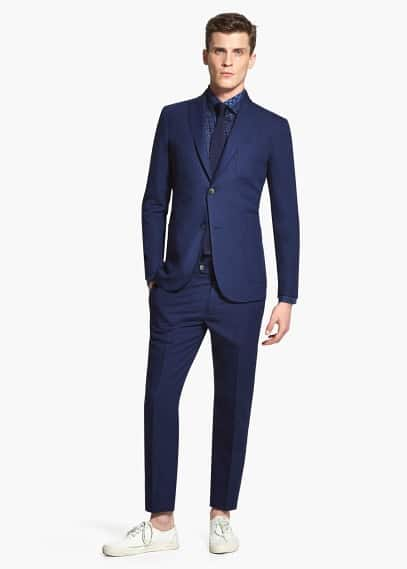 Cotton linen-blend suit blazer | MANGO MAN