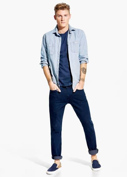 Slim-fit fine-stripe shirt | MANGO MAN