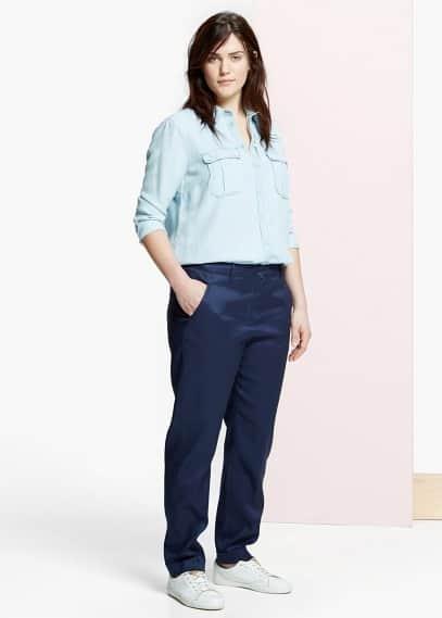 Прямые брюки хлопок и лен | VIOLETA BY MANGO