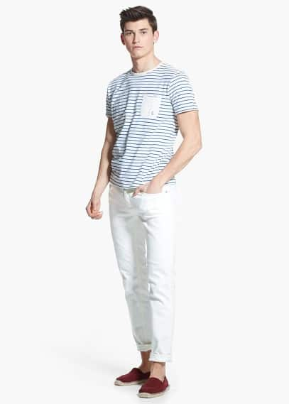 Embroidered-anchor striped t-shirt | MANGO MAN