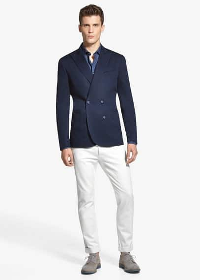 Double-breasted piqué blazer | MANGO MAN