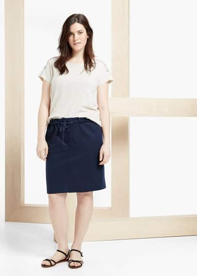 Linen-blend skirt | VIOLETA BY MANGO