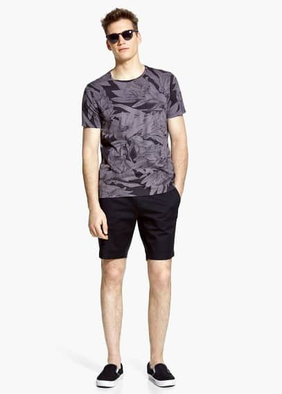 Floral print cotton t-shirt | MANGO MAN