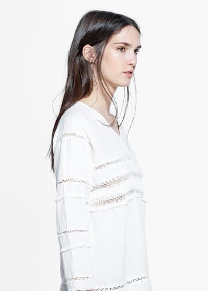 Fringed cotton blouse | MANGO