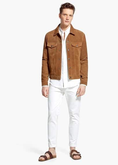 Buttoned suede jacket | MANGO MAN
