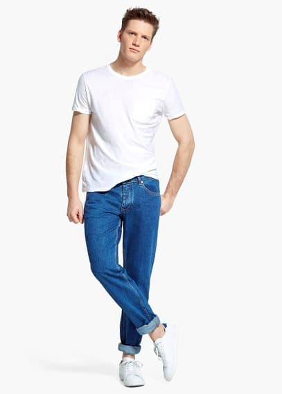 Slim-fit medium wash rick jeans | MANGO MAN