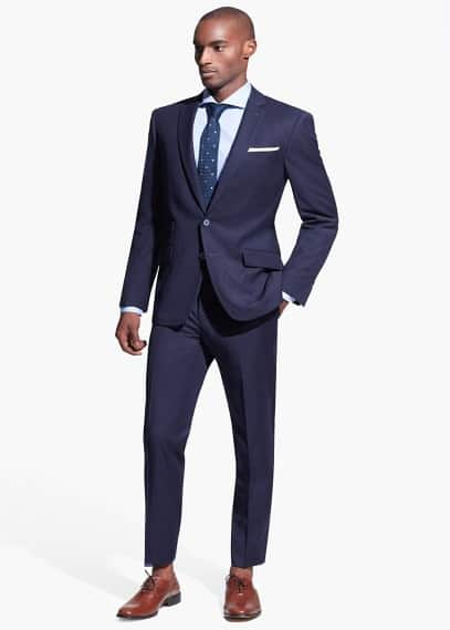 Striped texture casel suit | MANGO MAN